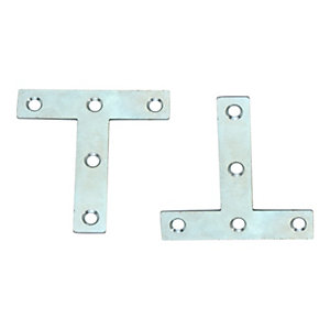 4TRADE Formed Tee Zinc Plated 75mm (Pack of 2)