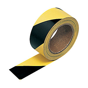 Contractor Hazard Warning Tape Self Adhesive Black Yellow 33m x 50m