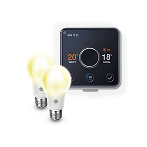 Hive Active Heating Thermostat & 2 x Dimmable Smart LED Bulbs Screw E27