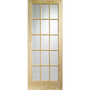 Softwood SA77 15 Panel Light Glazed Clear Pine Internal Door