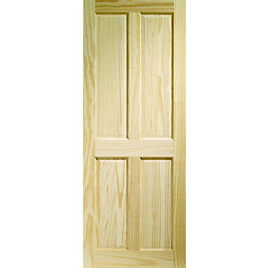 Softwood Victorian 4 Panel Clear Pine Internal Door Height 1981mm