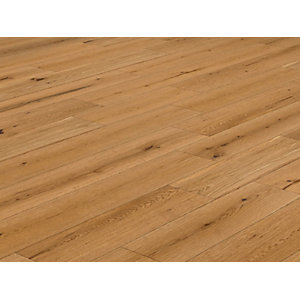 Solid Wood Flooring Style T41 Natural Oak Flooring Lacquered 18mm x 125mm - 2.2m² Pack Coverage