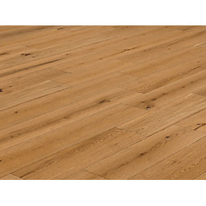 Solid Wood Flooring Style T46 Natural Oak Flooring Lacquered 18mm x 150mm - 1.98m² Pack Coverage