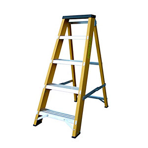 Lyte Heavy Duty EN131 Glassfibre Swingback Step 5  Stepladder
