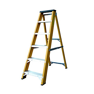Lyte Heavy Duty Glassfibre Swingback Stepladder 6 Tread EN131