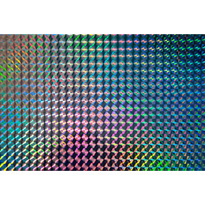 Fablon Sticky Back Plastic FAB13797 Holographic Mosaic - Silver 45cm x 1.5m