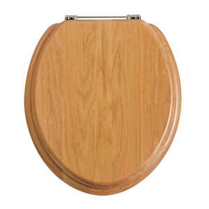 Heritage Oak Toilet Seat with Chrome Hinges FOA101