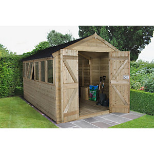 Tongue and Groove Pressure Treated Double Door Apex Shed