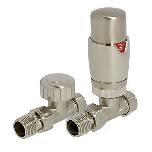 Towelrads Round Straight TRV and Lockshiel Valves Brass Nickel 105mm x 65mm