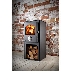 Trianco Newton 5kW Solid Fuel Stove - Black with Pedestal