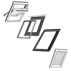 VELUX PU Centre Pivot Bundles MK08 Roof Window + Insulated Flashing + White Venetian Blind