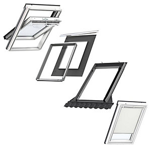 VELUX White Painted Centre Pivot CK04 Roof Window + Insulated Flashing + Beige Blackout Blind