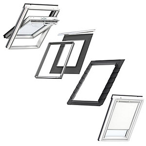 VELUX White Painted Centre Pivot CK04 Roof Window + Insulated Flashing + White Blackout Blind