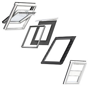 VELUX White Painted Centre Pivot SK06 Roof Window + Insulated Flashing + White Duo Blackout Blind
