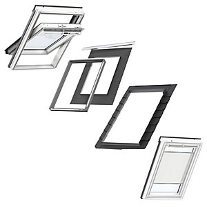 VELUX White Painted Centre Pivot SK06 Roof Window + Insulated Flashing + White Pleated Blind