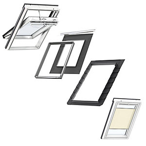VELUX White Painted Electric Integra SK06 Roof Window + Insulated Flashing + Beige Electric Pleated Blind