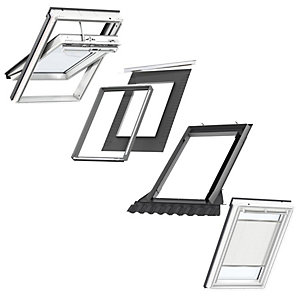 VELUX White Painted Electric Integra SK06 Roof Window + Insulated Flashing + White Electric Pleated Blind
