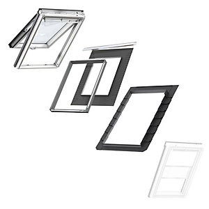 VELUX White Painted Top Hung CK04 Roof Window + Insulated Flashing + White Duo Blackout Blind