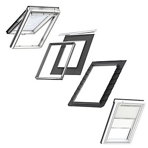 VELUX White Painted Top Hung MK08 Roof Window + Insulated Flashing + Beige Duo Blackout Blind
