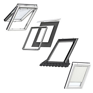VELUX White Painted Top Hung PK08 Roof Window + Insulated Flashing + Beige Blackout Blind