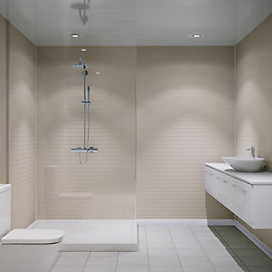 Multipanel Embossed Large Matt Wall Tile White Slate 2440mm x 1220mm