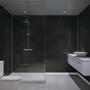 Multipanel Embossed Small Gloss Wall Tile Black Slate 2440mm x 1220mm