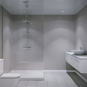 Multipanel Embossed Small Gloss Wall Tile White Galaxy 2440mm x 1220mm