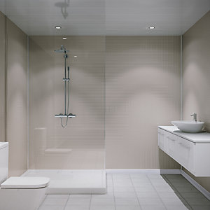 Multipanel Embossed Small Gloss Wall Tile White Slate 2440mm x 1220mm