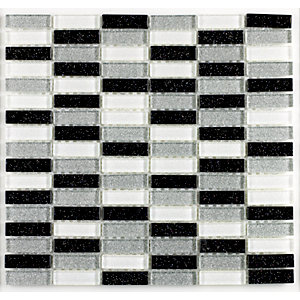 Tile Giant Verona Mosaics Wall B.W.S Glitter Brick Mosaic Black/White Glass Tile 300mm x 300mm