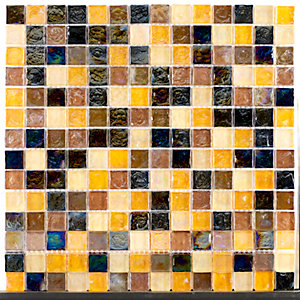 Tile Giant Verona Mosaics Wall Hammered Pearl Mix Mosaic Brown/Gold Glass 305mm x 305mm