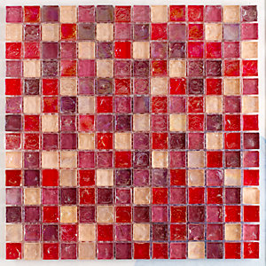 Tile Giant Verona Mosaics Wall Hammered Pearl Mix Pink/Orange Glass 305mm x 305mm