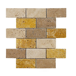 Verona Mosaics Wall And Floor Trav Brick Mix Mosaic Noce/Yellow/White Natural Stone 305mm x 305mm
