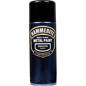 Hammerite Metal Paint Smooth Black 400ml Aerosol