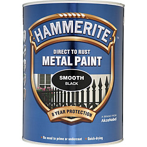 Hammerite Metal Paint Smooth Black 5L